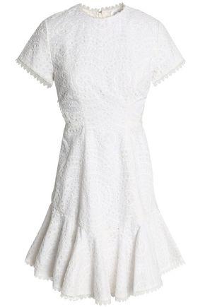 ZIMMERMANN Fluted lattice-paneled broderie anglaise cotton mini dress