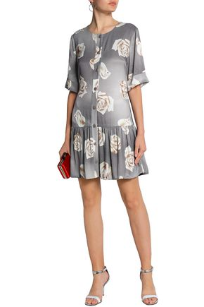 BOUTIQUE MOSCHINO Floral-print fluted sateen mini dress