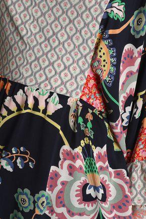 PERSEVERANCE Paneled printed crepe tunic