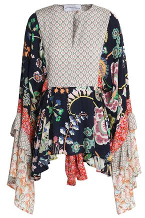 PERSEVERANCE Paneled printed crepe tunic