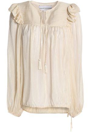 PERSEVERANCE Ruffle-trimmed silk-blend blouse