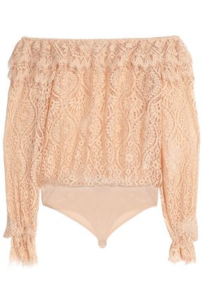 PERSEVERANCE Off-the-shoulder corded lace bodysuit