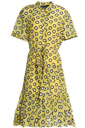 BOUTIQUE MOSCHINO Ruffled polka-dot cotton and silk-blend shirt dress