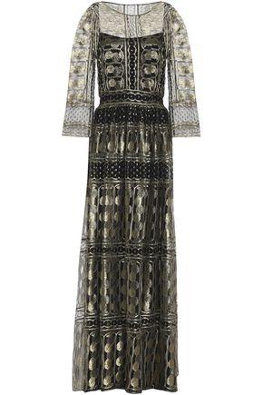 ALBERTA FERRETTI Metallic lace gown
