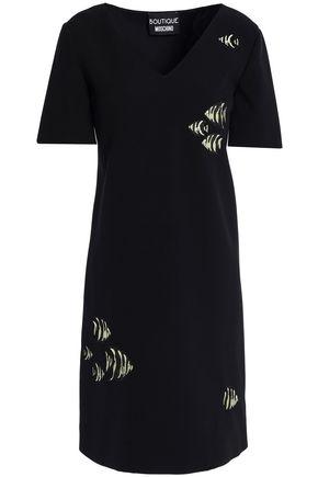BOUTIQUE MOSCHINO Embroidered crepe mini dress