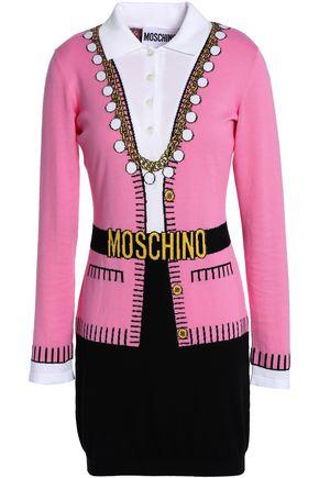 MOSCHINO Intarsia cotton mini dress