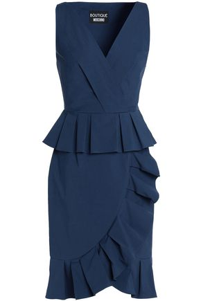 BOUTIQUE MOSCHINO Ruffle-trimmed cotton-poplin dress