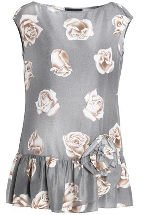 BOUTIQUE MOSCHINO Floral-print silk top