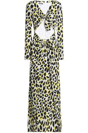 MOSCHINO Knotted leopard-print crepe maxi dress