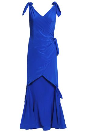MOSCHINO Bow-trimmed ruched silk-satin dress
