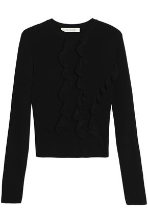 CEDRIC CHARLIER Ruffled pointelle-knit sweater