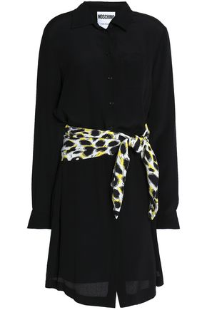 MOSCHINO Belted silk crepe de chine shirt dress