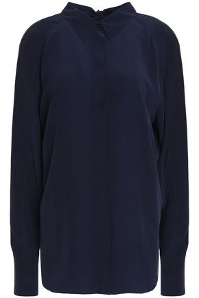CEDRIC CHARLIER Split-back silk crepe de chine shirt