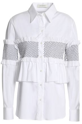 CEDRIC CHARLIER Ruffle-trimmed shirred cotton-blend poplin shirt