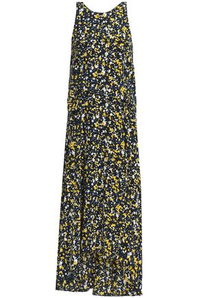 CEDRIC CHARLIER Asymmetric printed silk-faille midi dress