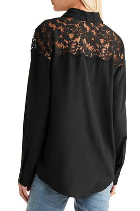 STELLA McCARTNEY Lace-paneled silk top