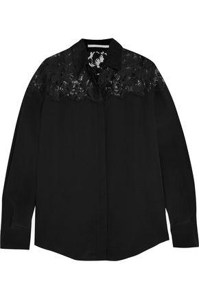 STELLA McCARTNEY Lace-paneled silk top