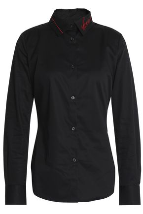 LOVE MOSCHINO Embroidered cotton-poplin shirt