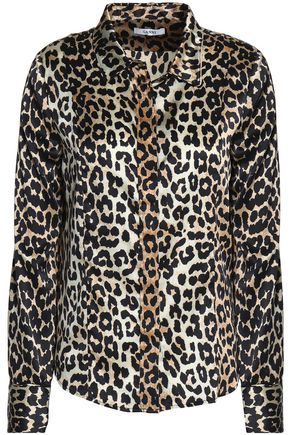 GANNI Leopard-print silk-blend satin top
