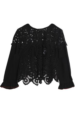 GANNI Broderie anglaise top