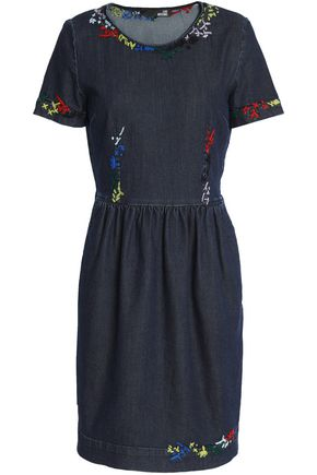 LOVE MOSCHINO Embroidered denim mini dress