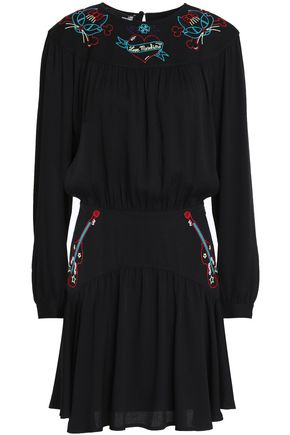 LOVE MOSCHINO Embroidered crepe mini dress