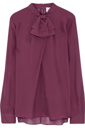 IRIS & INK Bow-embellished silk-voile blouse
