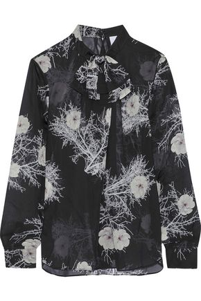 IRIS & INK Minnie pussy-bow floral-print silk-chiffon blouse