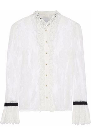 ZIMMERMANN Grosgrain-trimmed ruffled corded lace blouse