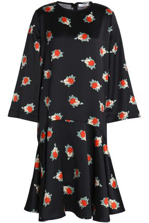 GANNI Floral-print satin dress