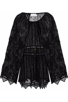 ZIMMERMANN Gathered embroidered silk-chiffon tunic