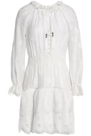 ZIMMERMANN Ruffle-trimmed embroidered cotton and silk-blend mini dress