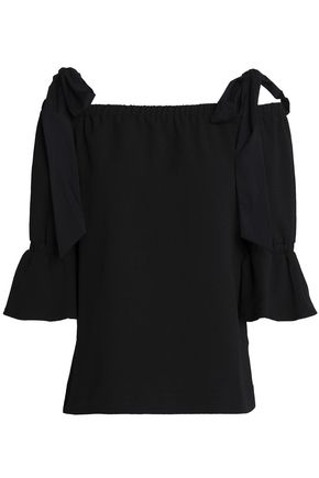 GANNI Cold-shoulder crepe top
