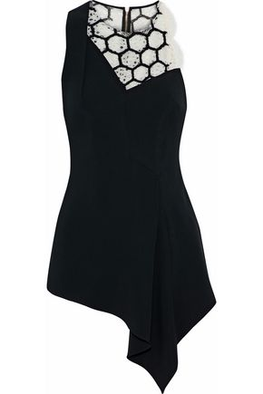 ROLAND MOURET Asymmetric embroidered corded lace-paneled cady top