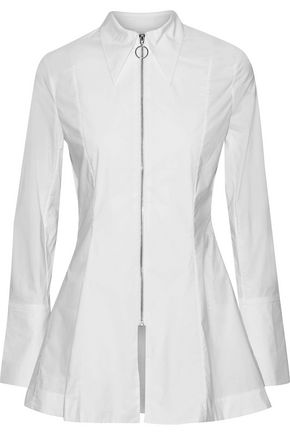 PAPER London Soleil cotton-blend poplin top