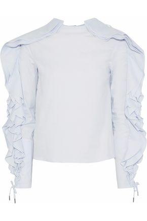 ANTONIO BERARDI Lace-up ruffled cotton-blend poplin top