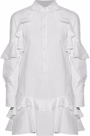 ANTONIO BERARDI Ruffled stretch-cotton poplin mini shirt dress