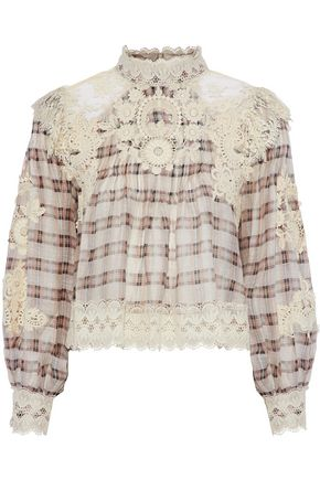 ZIMMERMANN Bowerbird embellished plaid silk and linen-blend gauze blouse