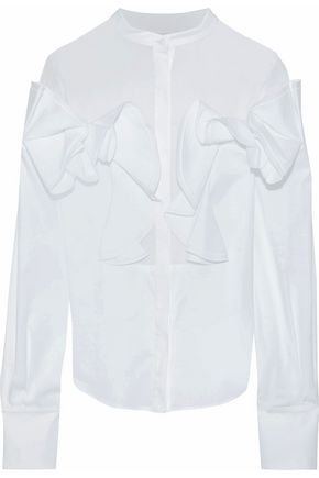 ANTONIO BERARDI Voile-paneled ruffled stretch-cotton poplin blouse