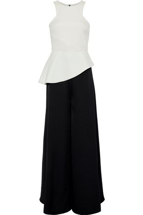 WOMAN NIKKIO TWO-TONE CREPE AND SATIN PEPLUM JUMPSUIT WHITE