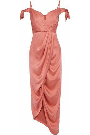 ZIMMERMANN Cold-shoulder draped washed-silk dress