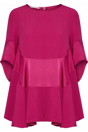ANTONIO BERARDI Draped satin-paneled crepe blouse