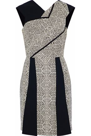 ROLAND MOURET Jenolan crepe and tweed mini dress