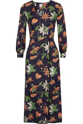 IRIS & INK Brooke floral-print silk-satin twill midi dress