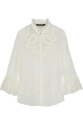 ROBERTO CAVALLI Lace-trimmed appliquéd silk crepe de chine blouse