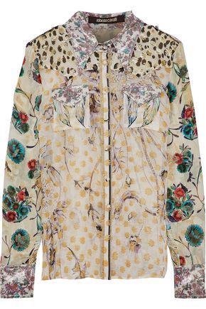 ROBERTO CAVALLI Metallic silk-blend jacquard shirt