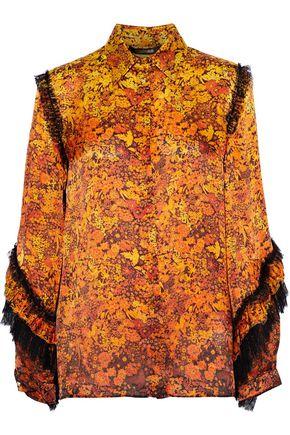 ROBERTO CAVALLI Lace-trimmed floral-print silk shirt
