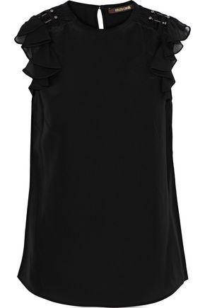ROBERTO CAVALLI Flocked tulle-trimmed embellished silk crepe de chine top