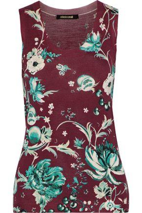 ROBERTO CAVALLI Floral-print wool, cashmere, and silk-blend tank