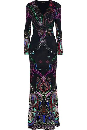 ROBERTO CAVALLI Wrap-effect embellished printed jersey gown